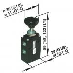 Ручной и механически упр. клапан Norgren 03060402 тип кнопка/пружина черный, соед. G1/4